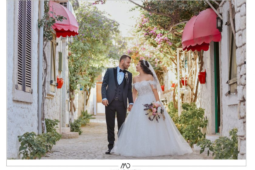 Alaçatı sokakları düğün fotoğrafları dış çekim Murat Dutlu